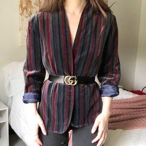 Vintage Corduroy Velvet Blazer Jacket Stripe k